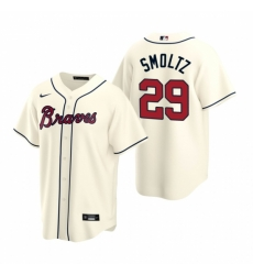 Mens Nike Atlanta Braves 29 John Smoltz Cream Alternate Stitched Baseball Jerse