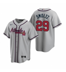 Mens Nike Atlanta Braves 29 John Smoltz Gray Road Stitched Baseball Jerse