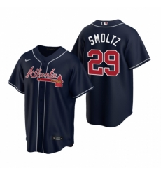 Mens Nike Atlanta Braves 29 John Smoltz Navy Alternate Stitched Baseball Jerse