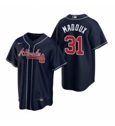 Mens Nike Atlanta Braves 31 Greg Maddux Navy Alternate Stitched Baseball Jerse
