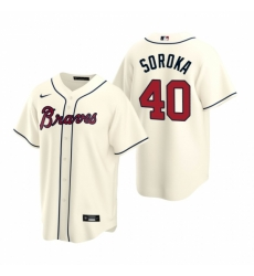 Mens Nike Atlanta Braves 40 Mike Soroka Cream Alternate Stitched Baseball Jersey