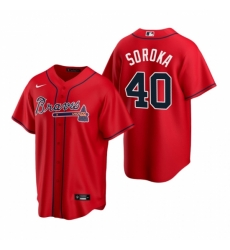 Mens Nike Atlanta Braves 40 Mike Soroka Red Alternate Stitched Baseball Jersey