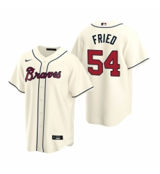 Mens Nike Atlanta Braves 54 Max Fried Cream Alternate Stitched Baseball Jersey