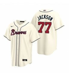Mens Nike Atlanta Braves 77 Luke Jackson Cream Alternate Stitched Baseball Jersey