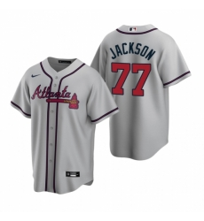 Mens Nike Atlanta Braves 77 Luke Jackson Gray Road Stitched Baseball Jersey