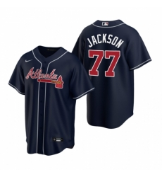 Mens Nike Atlanta Braves 77 Luke Jackson Navy Alternate Stitched Baseball Jersey
