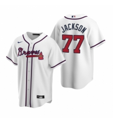 Mens Nike Atlanta Braves 77 Luke Jackson White Home Stitched Baseball Jersey