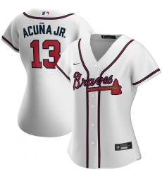 Atlanta Braves 13 Ronald Acuna Jr  Nike Women Home 2020 MLB Player Jersey White