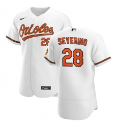 Men Baltimore Orioles 28 Pedro Severino Men Nike White Home 2020 Flex Base Player MLB Jersey