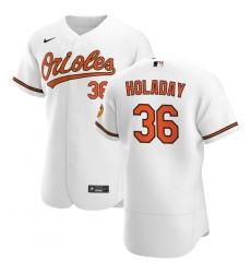 Men Baltimore Orioles 36 Bryan Holaday Men Nike White Home 2020 Flex Base Player MLB Jersey
