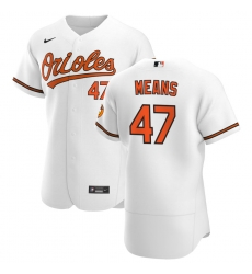 Men Baltimore Orioles 47 John Means Men Nike White Home 2020 Flex Base Player MLB Jersey