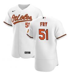 Men Baltimore Orioles 51 Paul Fry Men Nike White Home 2020 Flex Base Player MLB Jersey