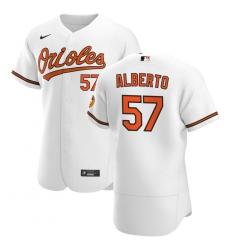 Men Baltimore Orioles 57 Hanser Alberto Men Nike White Home 2020 Flex Base Player MLB Jersey