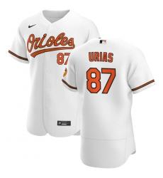 Men Baltimore Orioles 87 Ramon Urias Men Nike White Home 2020 Flex Base Player MLB Jersey