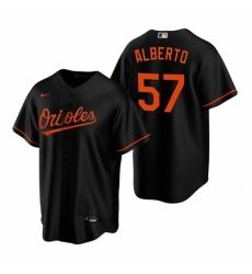 Mens Nike Baltimore Orioles 57 Hanser Alberto Black Alternate Stitched Baseball Jersey