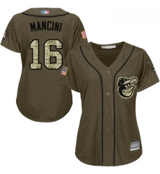 Orioles #16 Trey Mancini Green Salute to Service Women Stitched Baseball Jersey