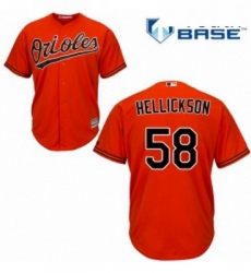 Youth Majestic Baltimore Orioles 58 Jeremy Hellickson Replica Orange Alternate Cool Base MLB Jersey