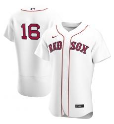 Men Boston Red Sox 16 Andrew Benintendi Men Nike White Home 2020 Flex Base Player MLB Jersey