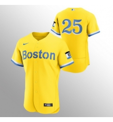 Men Boston Red Sox 25 Kevin Plawecki Men Nike 2021 City Connect Gold Authentic MLB Jersey   No Name