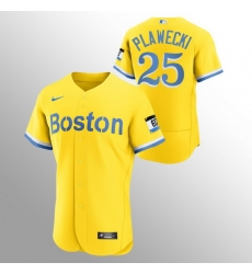 Men Boston Red Sox 25 Kevin Plawecki Men Nike 2021 City Connect Gold Authentic MLB Jersey
