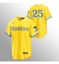 Men Boston Red Sox 25 Kevin Plawecki Men Nike 2021 City Connect Gold Fans Version MLB Jersey   No Name