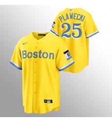 Men Boston Red Sox 25 Kevin Plawecki Men Nike 2021 City Connect Gold Fans Version MLB Jersey