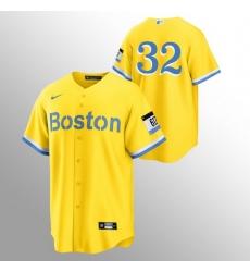 Men Boston Red Sox 32 Matt Barnes Men Nike 2021 City Connect Gold Fans Version MLB Jersey   No Name