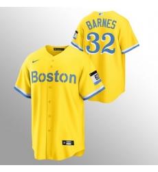 Men Boston Red Sox 32 Matt Barnes Men Nike 2021 City Connect Gold Fans Version MLB Jersey