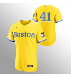 Men Boston Red Sox 41 Chris Sale Men Nike 2021 City Connect Gold Authentic MLB Jersey   No Name