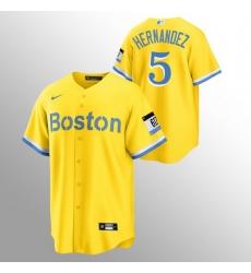 Men Boston Red Sox 5 Enrique Hernandez Men Nike 2021 City Connect Gold Fans Version MLB Jersey