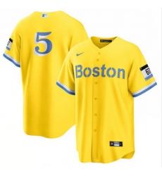 Men Boston Red Sox 5 Enrique Hernandez Nike Gold Light Blue 2021 City Connect Jersey