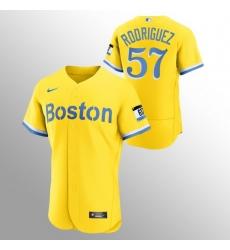 Men Boston Red Sox 57 Eduardo Rodriguez Men Nike 2021 City Connect Gold Authentic MLB Jersey