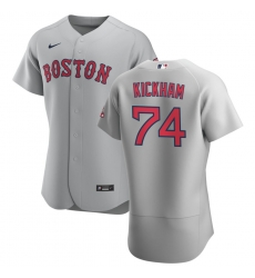 Men Boston Red Sox 74 Mike Kickham Men Nike Gray Road 2020 Flex Base Team MLB Jersey