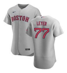 Men Boston Red Sox 77 Robinson Leyer Men Nike Gray Road 2020 Flex Base Team MLB Jersey