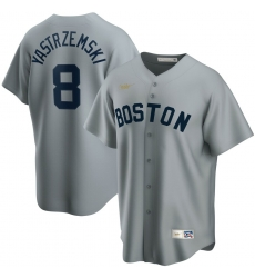 Men Boston Red Sox 8 Carl Yastrzemski Nike Road Cooperstown Collection Player MLB Jersey Gray
