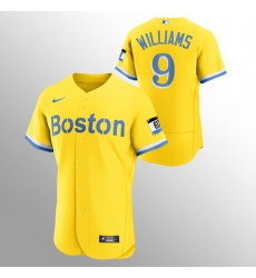 Men Boston Red Sox 9 Ted Williams Men Nike 2021 City Connect Gold Authentic MLB Jersey