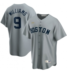 Men Boston Red Sox 9 Ted Williams Nike Road Cooperstown Collection Player MLB Jersey Gray