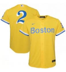 Men Boston Red Sox Xander Bogaerts Nike Gold Light Blue 2021 City Connect Player Jersey