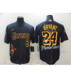 Men Los Angeles Lakers 8 24 Kobe Bryant Black With KB Patch Jersey