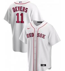 Men Majestic Boston Red Sox 11 Rafael Devers White Home Flex Base  Jersey
