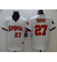 Men Nike Angels 27 Mike Trout White Nike Cool Base Jersey