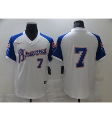 Men Nike Atlanta Dansby Swanson 7 White Blue Pullover Jersey