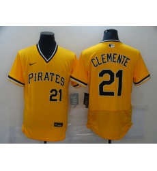 Men Nike Pittsburgh Pirates Roberto Clemente 21 Gold Flex Base Authentic Collection MLB Jersey