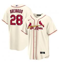 Men St.Louis Cardinals 28 Nolan Arenado Cream Nike Cool Base Jersey