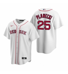 Mens Nike Boston Red Sox 25 Kevin Plawecki White Home Stitched Baseball Jersey