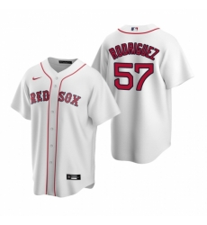 Mens Nike Boston Red Sox 57 Eduardo Rodriguez White Home Stitched Baseball Jersey