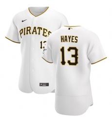 Pittsburgh Pirates 13 Ke 27Bryan Hayes Men Nike White Home 2020 Authentic Player MLB Jersey