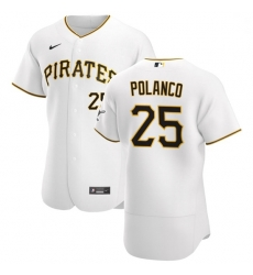 Pittsburgh Pirates 25 Gregory Polanco Men Nike White Home 2020 Authentic Player MLB Jersey