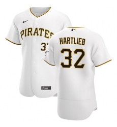 Pittsburgh Pirates 32 Geoff Hartlieb Men Nike White Home 2020 Authentic Player MLB Jersey
