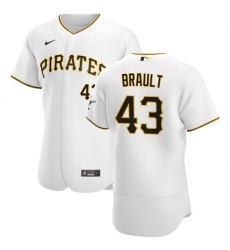 Pittsburgh Pirates 43 Steven Brault Men Nike White Home 2020 Authentic Player MLB Jersey